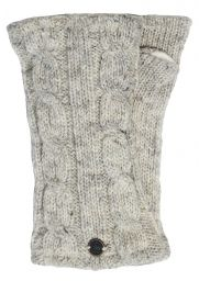 Fleece lined wristwarmer - cable - Pale Marl