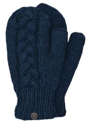Fleece lined mittens - Cable - Denim blue