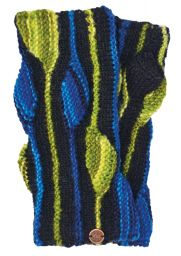 NAYA - pure wool - flame - wristwarmer - black/blue
