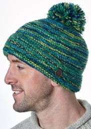 Reverse Electric Bobble - pure wool - greens