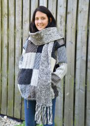 Long - pure wool scarf - Grey/white