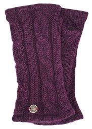 Fleece lined wristwarmer - Cable - Aubergine