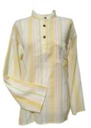 Fine White Striped Shirt - Yellow
