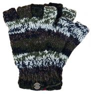 Pure wool - electric stripe - fingerless gloves - green natural 0a0277e50903