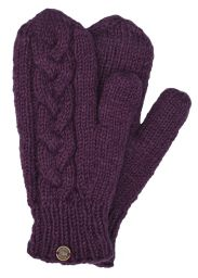 Fleece lined mittens - Cable - Grape
