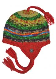 Hand knit - pure wool - electric - ear flap hat - Bright
