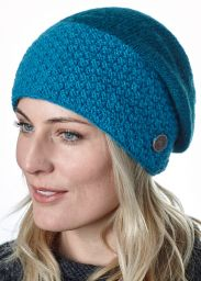 Moss stitch - baggy beanie - turquoise