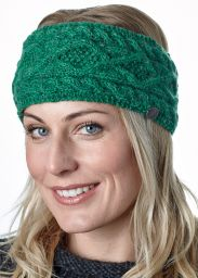 Pure wool - diamond cable headband - green pepper