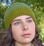 60eb4e997982d3 Pure wool - half fleece lined - Narrow stripes beanie - Green/turquoise
