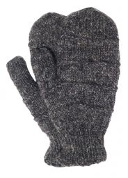 Fleece lined mittens - ridge - Marl Brown