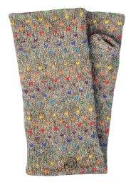 Fleece lined wristwarmer - rainbow tick - Marl Brown