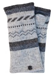 Fleece lined wristwarmer - zigzag - Pale grey