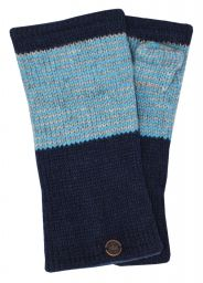 Fleece lined - wristwarmer - thin stripes - dark blue