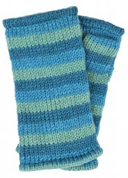 Children's Fleece lined - stripes - wristwarmers - aqua