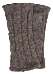 Fleece lined wristwarmer - cable - dark Natural browns