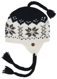 Hand knit - half fleece lined - snowflake - ear flap hat -  Assorted