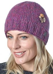 Fruit button beanie - pure wool - fleece lined - pink heather
