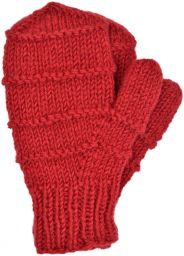 Children's fleece lined - ridge mittens - deep red