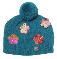 Pure wool - felt flower sparkle bobble - Turquoise
