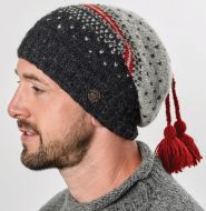 Nordic Slouch - Pure Wool - Red/Mid Grey