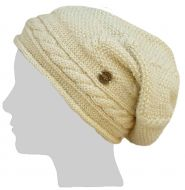 Pure wool - half fleece lined - cable slouch - Biscuit