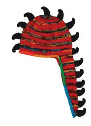 Dino hat - pure wool - hand knitted - fleece lining - electric red / black