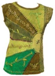 ***SALE*** - Stonewashed  Patchwork - Embroidered -  Top - Green