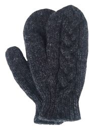 Fleece lined mittens - Cable - Charcoal