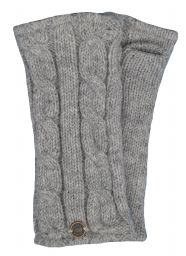 Fleece lined wristwarmer - cable - Mid grey