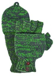 two tone mitt - Bright green/grey