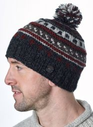 Pattern ridge bobble hat - pure wool - fleece lining - greys / brick