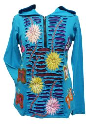 Flower And Butterfly Hooded Pull On - Blue