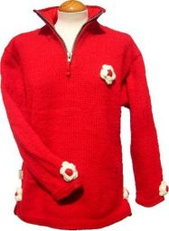 Fleece lined - ladies pull on - Red
