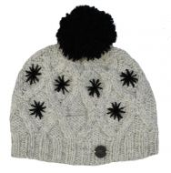 pure wool - diamond cable bobble hat - Greys/Black