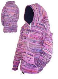 Fleece lined - pixie hooded jacket - electric Pink