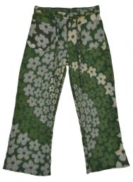 Soft blanket Trousers - Green Flower