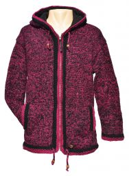 double border - hooded jacket - Blackberry