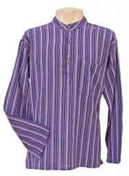 Light weight - Striped Cotton Shirt - Bright purple