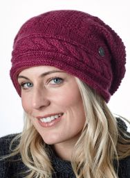 Pure wool - half fleece lined - cable slouch - Berry