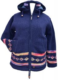 Pure wool - detachable hood - tie dye diamond border - dark blue