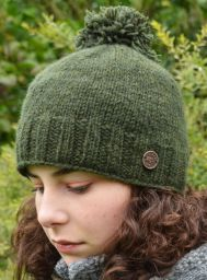 Classic bobble hat - hand knitted - fleece lining - dark green