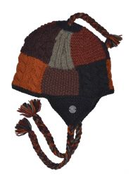 Patchwork ear flap hat - pure wool - hand knitted - fleece lining - browns