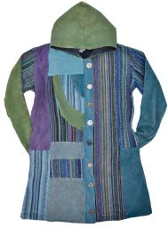Gheri  cotton - hooded jacket - blue multi