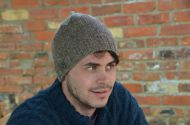 Hand knit pure wool - top notch beanie - marl brown/grey