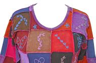 Hand embroidered - patchwork top - purples