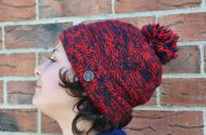 Two tone turn up - bobble hat - red/smoke