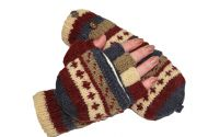 hand knit - pattern mitts - smokey
