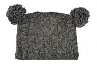 Square cable pom pom hat - hand knitted - pure wool - fleece lining - mid grey