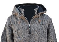 detachable hood - diamond rope cable jacket - brown