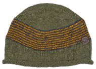 Pure wool - half fleece lined - Thin stripes beanie - green